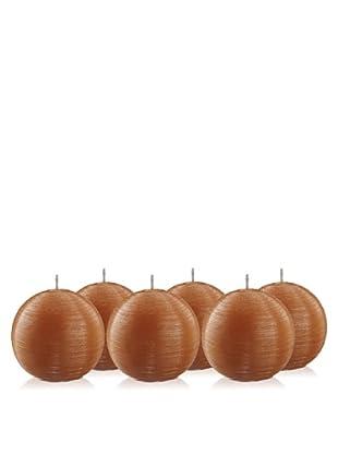 Point à la Ligne Set of 6 Sphere Candles (Orange)