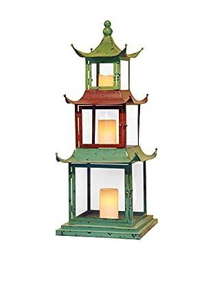 Winward Pagoda 3-Tier Lantern with Glass, Multi