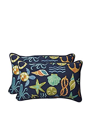 Pillow Perfect Set of 2 Indoor/Outdoor Seapoint Neptune Lumbar Pillows, Blue