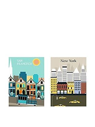 Really Nice Things Leinwandbild 2 er Set Usa Cities