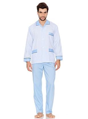 Plajol Pijama Largo de Caballero Combinado (Azul)