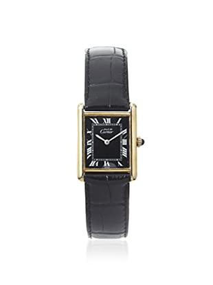 Cartier Women's Tank Must De Black Leather/18K Yellow Gold Plated Watch (Black)