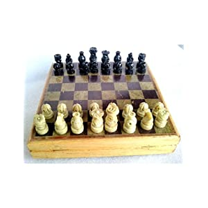 "8"" x 8"" Marble Wooden Chess Game Board Set + Hand Crafted Pawns"