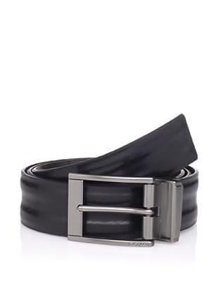 Calvin Klein Men's Reversible Padded Strap Belt (Black/dark Brown)