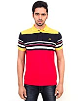 La MODE Men Red Dominated Multicolored Polo T-Shirt(TS-02_LA00638R-S_Small_Red)