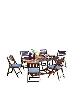 Outdoor Interiors Eucalyptus 7-Piece Fold & Store Set, Brown