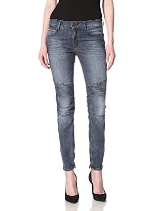 Rockstar Denim Women's Biker Denim Skinny Jeans (Medium Clean Wash)
