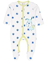 Infant Boys Wadded Star Print Sleepsuit, White (9-12 Months)