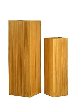 Kenay Set de 2 Jarrones Cuadrados Bamboo