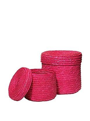 Premier Housewares Aufbewahrungskorb 2er Set 1900963 rosa