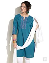 Hand Emboidered Placket Cotton Kurta-Blue-L
