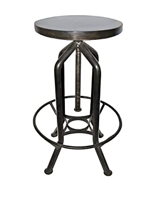 Melange Home Reevolution Revolving Bar Stool, Aluminum, Rustic Wood