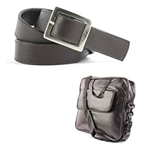 Combo of Fidato Laptop Bag + Men Belt