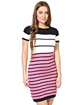 The Gud Look Women's Cotton Black And Pink Flat Knit Dress Small Black