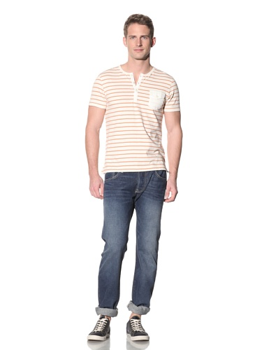 Barque Men's Cotton Slub Jersey with Woven Contrast Detail (Orange Stripe)