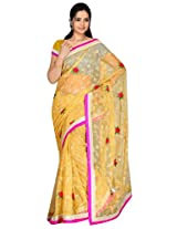 Sehgall Sarees Indian Professional Creme Net Fancy Embroidery Saree