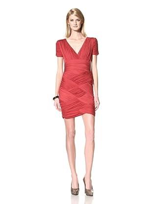 HALSTON HERITAGE Women's Ruched V-Neck Dress (Paprika)