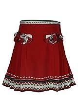 Cutecumber Girls Woolen Embellished Red Knee Length Skirt