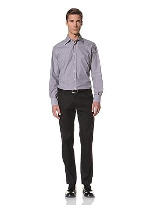 Valentino Men's Dress Shirt (Light Olive/White Stripe)