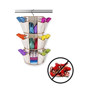 3Tier Carousel Shoe Rack 360 Rotating Hanging Hand Bag Cloth Storage Organiser for Home