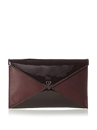 Charlotte Ronson Women's Patent Leather Mix Envelope Clutch, Wine