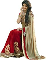 Famacart Women Embriodered Georgette Sarees Sari Partywear Dress