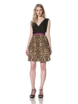 GIAMBATTISTA VALLI Women's Sleeveless V-Neck Dress (Black/ Leopard)