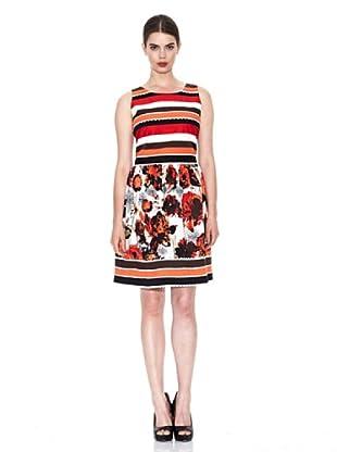 Niza Moda Vestido Rayas y Flores (Naranja)