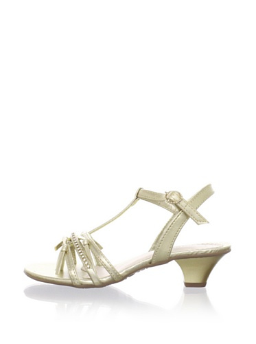 Pampili Kid's Kitten Heel T-Strap Sandal (Gold)