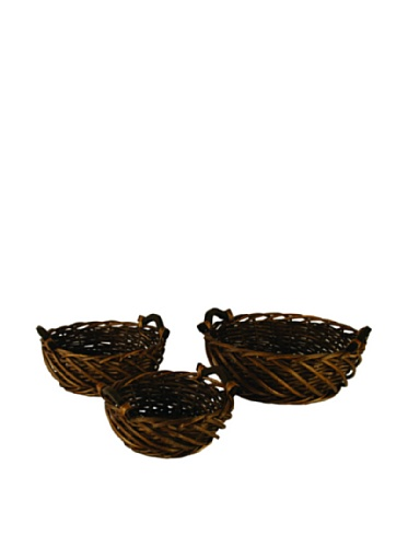 Wald Imports Set of 3 Carved Willow Bowls, Brown