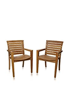 Les Jardins Set of 2 Stafford Dining Armchairs, Teak