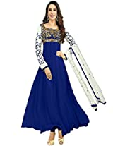 Rozdeal Women Georgette Embroidered Unstitched Long Sleeve Navy Blue Anarkali Suit