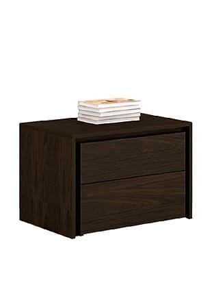 Casabianca Furniture Zen 2-Drawer Nightstand, Espresso Veneer
