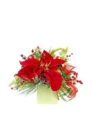 Creative Displays Velvet Poinsettia & Evergreen Arrangement, Red/Green