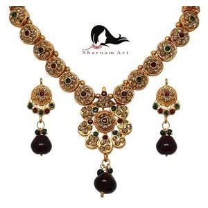 Sharnam Art Trendy Gold Plated Stone Necklace Set