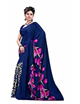 Lineysha Boutique Printed Gorgeous Silk Sari with Blouse, makes a women more gorgeous,graceful and elegant - Multicolor