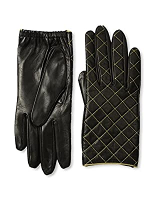Portolano Women's Metallic Quilted Leather Gloves with Silk Lining (Black/Gold)