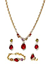 Multicolor crystals royal Jewellery Set with Ring