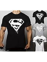 dk Bodybuilding Gym T Shirt Muscle Top Fitness MMA Workout Training (Supermen) - White (Medium)