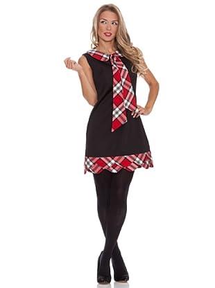 Divina Providencia Vestido De Ondas y Cuadros (Negro/Rojo)