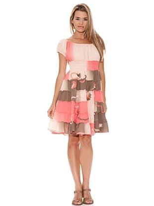 Peace & Love Vestido Elástico (rosa / marrón)