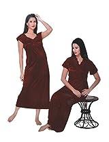Indiatrendzs Women's Sexy Hot Nighty Maroon 2pc Set Lingerie Nightwear