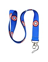 """Marvel Comics The Avengers Captain America Shield Logo Blue 19"""" Lanyard With Metal Keychain Clasp Gift Box Included"""
