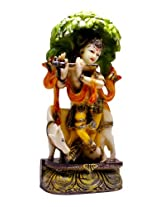 Hand Carved Painted Krishna Resin Idol Sculpture Statue Size 11 inches