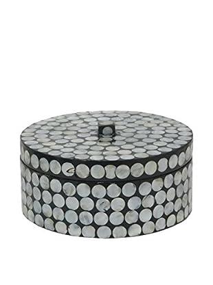 Three Hands Wood Circles Box, Silver