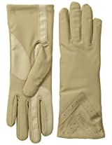 Isotoner Women's Smartouch Fleece-Lined Spandex Glove with Chevron Applique, Camel, X-Small/Small