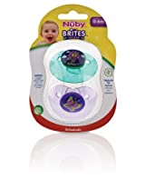 Nuby 2-Pack Brites Orthodontic Pacifiers, Colors May Vary