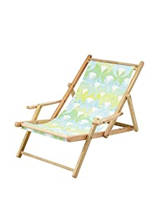Julie Brown Wooden Reversible Adult Chair (Green Fans/Polka)