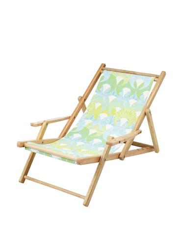 Julie Brown Wooden Reversible Adult Chair (Green Fans/Polka)