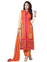Orange Designer Embroidered Chanderi Semi Stiched Salwar Suit VINKS-1001